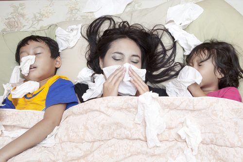 Family with Flu - How to prevent the flu