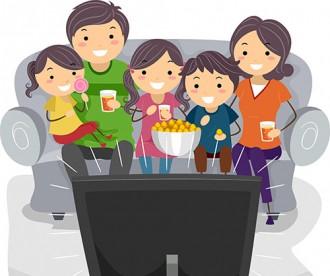 Cartoon Family watching TV crop