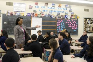 Jahana Hayes teaches in her classroom in Waterbury, Conn.