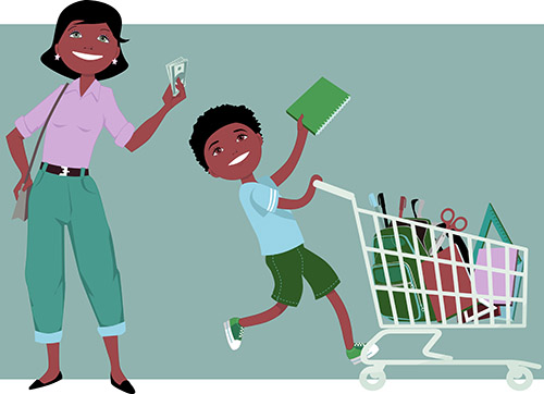 Mom and son shopping for school supplies
