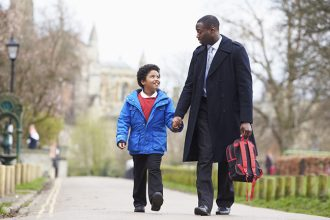 Walk Kids to School: Father Walking Son To School Along Path