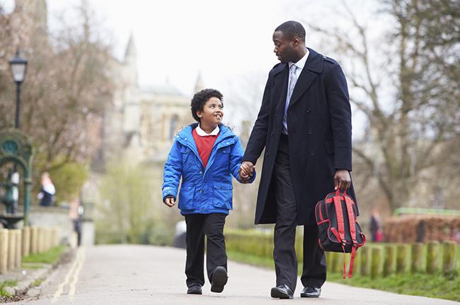 Walk Kids to School: Father Walking Son To School Along Path