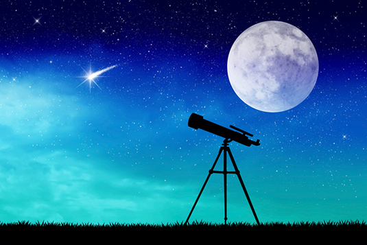 illustration of telescope silhouette Dr. Mae Jemison profile