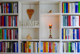 Home Library: Full books shelves and home decoration