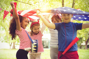 Patriotic Children on Fourth of July or Memorial Day