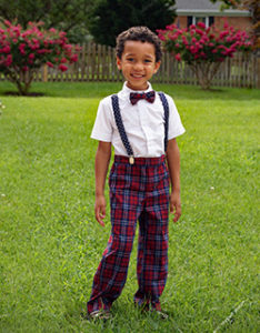 Kindergartner David Steiner all dressed up