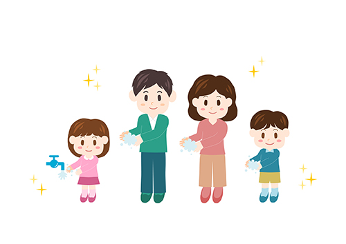 No Germs! Illustration of Family (hand washing)