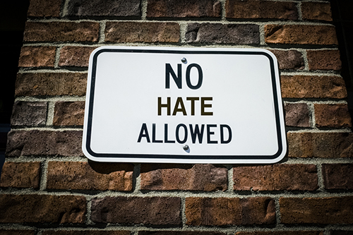 No hate allowed sign - Bias and hate at school