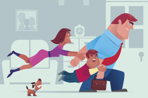 The Myth of the Uninvolved Parent: illustration of wife and son stopping father going to work.