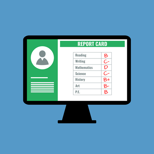 beyond the report card - online school report card with B C D grades, flat design vector illustration