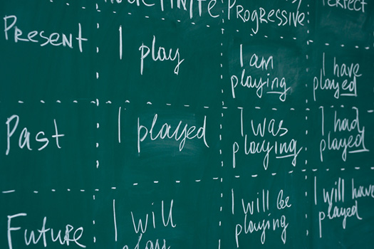English Language Learners. Blackboard in an English class. Lesson, lecture, studying learning foreign language