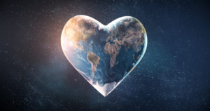 Beautiful rendering of a heart shaped earth, loving-kindness meditation focal point
