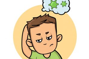 Worried boy thinking about viruses. Coronavirus prevention, world quarantine. Cartoon design icon. Colorful flat vector illustration, isolated on white background.