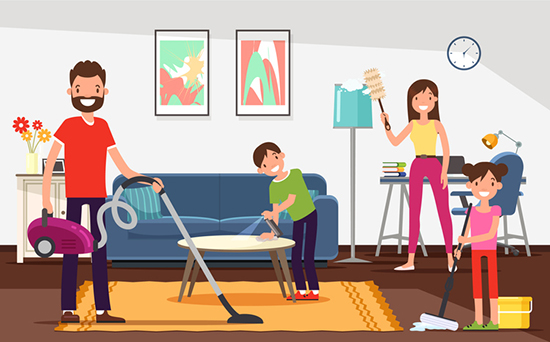 Prevent the spread of COVID-19. Parents and Children Happily Clean Apartment. Mom Wipes Dust from Furniture. Son Polishes Table. Daughter Washes Floor. Father Vacuuming Carpet.