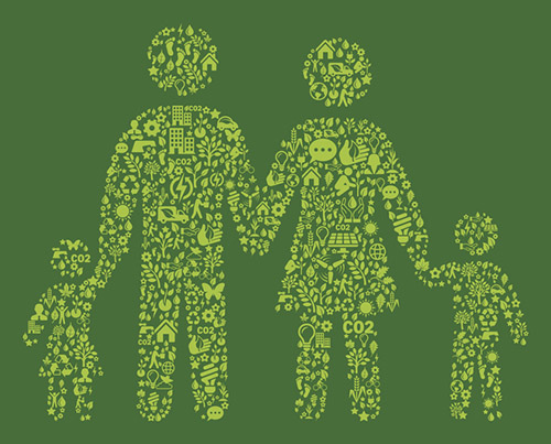 Being Green at HOme Family On Green Nature Conservation Icon Pattern