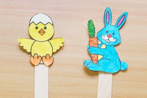 bunny and chick stick puppets easter passover craft