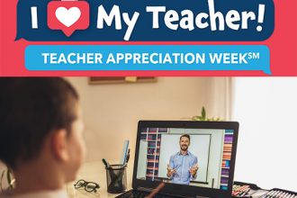 Virtual Teacher Appreciation Week: Student Learning remotely from home with his teacher.